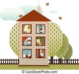 voisins, maison, village