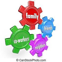 voisins, support famille, système, engrenages, collègues, amis