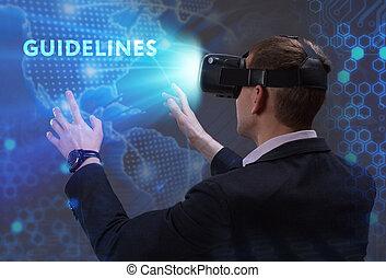 voit, réseau, fonctionnement, inscription:, concept., directives, jeune, virtuel, business, internet, homme affaires, technologie, réalité, lunettes