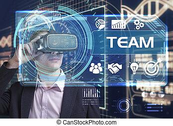 voit, réseau, fonctionnement, inscription:, concept., internet, jeune, virtuel, business, équipe, homme affaires, technologie, réalité, lunettes