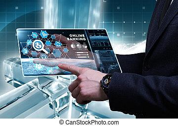 voit, réseau, fonctionnement, inscription:, concept., internet, jeune, virtuel, business, banque, avenir, ligne, homme affaires, écran, technologie