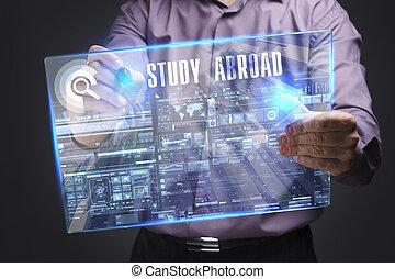 voit, réseau, fonctionnement, inscription:, concept., jeune, virtuel, business, avenir, internet, homme affaires, étude, écran, à l'étranger, technologie