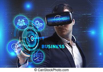 voit, réseau, fonctionnement, inscription:, concept., jeune, virtuel, business, business, internet, homme affaires, technologie, réalité, lunettes