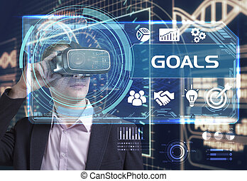 voit, réseau, fonctionnement, inscription:, concept., jeune, virtuel, business, buts, internet, homme affaires, technologie, réalité, lunettes