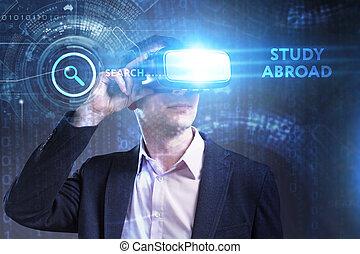 voit, réseau, fonctionnement, inscription:, concept., jeune, virtuel, business, homme affaires, internet, étude, technologie, réalité, à l'étranger, lunettes