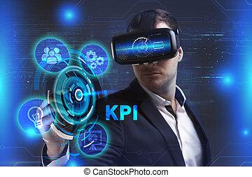 voit, réseau, fonctionnement, inscription:, concept., jeune, virtuel, business, homme affaires, internet, kpi, technologie, réalité, lunettes