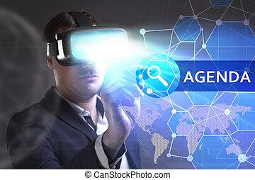 voit, réseau, fonctionnement, inscription:, concept., jeune, virtuel, business, ordre du jour, internet, homme affaires, technologie, réalité, lunettes
