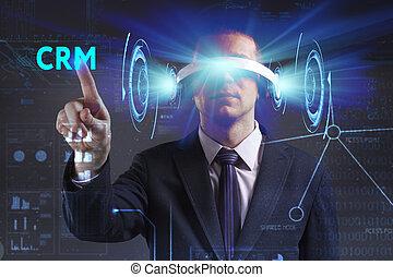 voit, réseau, fonctionnement, inscription:, concept., lunettes, jeune, virtuel, business, internet, homme affaires, technologie, réalité, crm