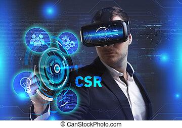 voit, réseau, fonctionnement, inscription:, concept., lunettes, jeune, virtuel, business, internet, homme affaires, technologie, réalité, csr
