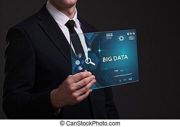 voit, réseau, fonctionnement, inscription:, grand, concept., jeune, virtuel, business, avenir, internet, homme affaires, données, écran, technologie