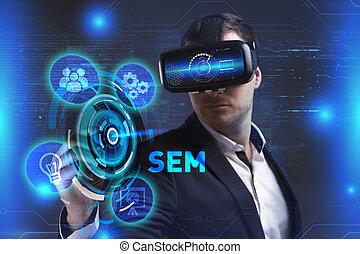 voit, réseau, fonctionnement, technologie, inscription:, concept., jeune, virtuel, business, internet, homme affaires, sem, réalité, lunettes