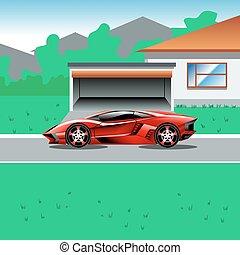 voiture, à côté de, garage, luxe, sport, house's, garé