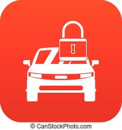 voiture, à, cadenas, icône, numérique, rouges