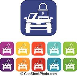 voiture, à, cadenas, icônes, ensemble