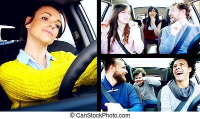 voiture, écran, gens, fente, danse