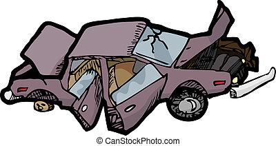 voiture, écrasé