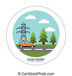 voiture électrique, énergie, route, propre, tour, paysage