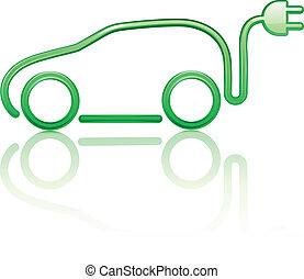 voiture, électrique, actionné