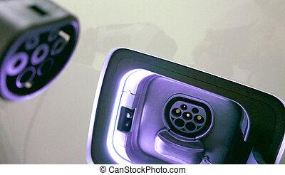 voiture, électrique, chargeur