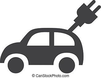 voiture électrique, illustration, arrière-plan., vecteur, noir, blanc, icône