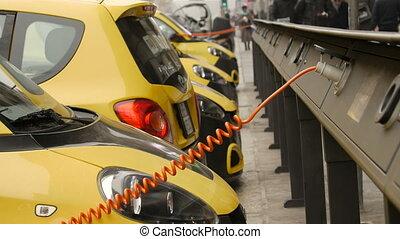 voiture, électro, charger, rue.