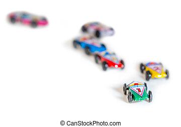 voiture, étain, fond blanc, jouets
