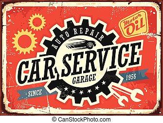 voiture, étain, vendange, service, signe