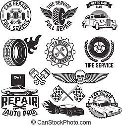 voiture, étiquettes, servise