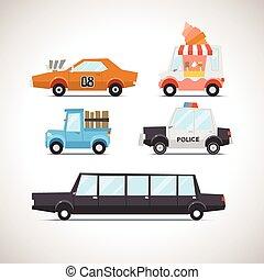 voiture, 2, ensemble, plat, icône