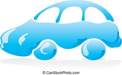 voiture, 3, vecteur, laver, icône