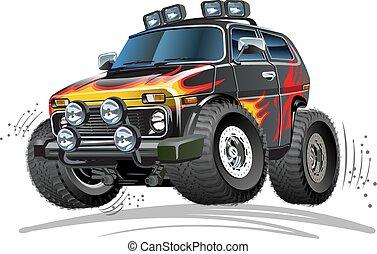 voiture, 4x4, dessin animé