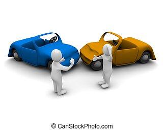 voiture, accident., 3d, rendu, illustration, isolé, sur,...