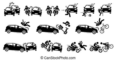 voiture, accident route, icons., fracas