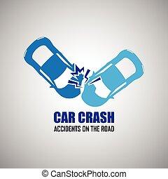 voiture, accidents, fracas, icônes