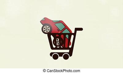 voiture, achat, animation, vidéo, conception