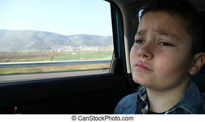 voiture, adolescent, triste
