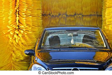 voiture, aller, par, une, automatisé, lavage voiture,...