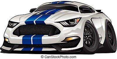 voiture, américain, moderne, dessin animé, muscle