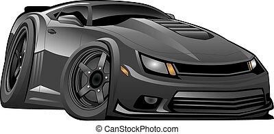 voiture, américain, moderne, noir, muscle