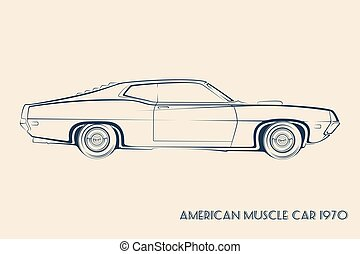 voiture, américain, muscle, silhouette, 70s