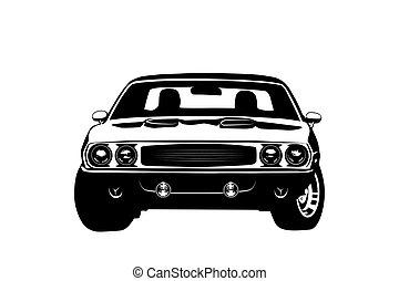 voiture, américain, muscle, silhouette, légende