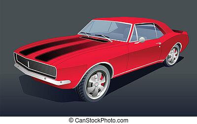 voiture, américain, vecteur, vieux, muscle