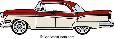 voiture, américain, vieux, blanc rouge
