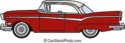 voiture, américain, vieux, rouges