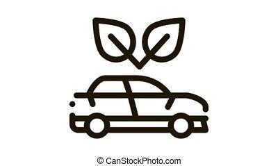 voiture, ambiant, animation, protection, électro, icône, écologie