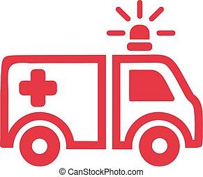 voiture, ambulance, rouges, icône