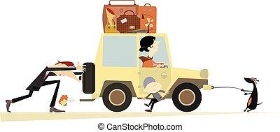 voiture, amical, famille, cassé