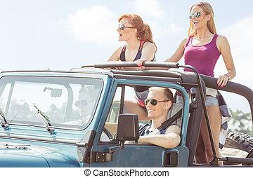 voiture, amis, avoir, voyage