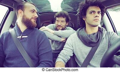 voiture, amis, trois, rire