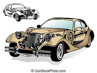 voiture, ancien, magnifique